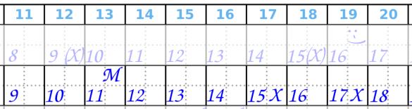 Zyklusmitte, Periodenkalender, Bsp 2