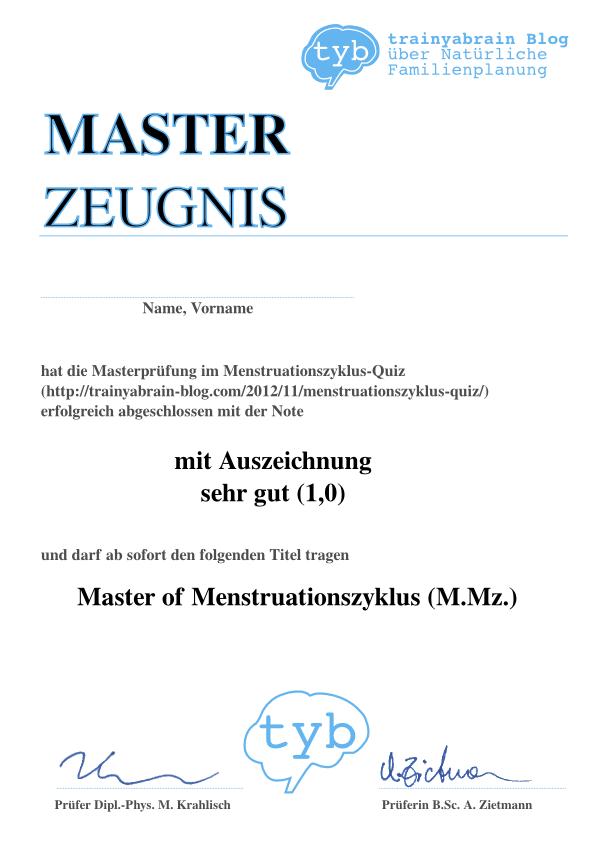Masterzeugnis- Menstruationszyklus-Quiz