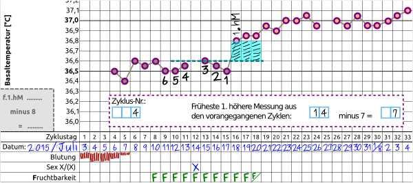 Schwangerschaftszyklus-Temperaturmethode